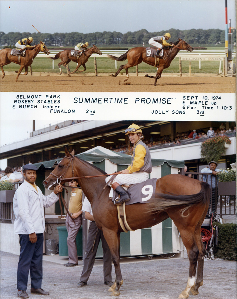 Win composite from a race on Sept. 10, 1974 at Belmont Park won by Eddie Maple and Summertime Promise (NYRA/Museum Collection)