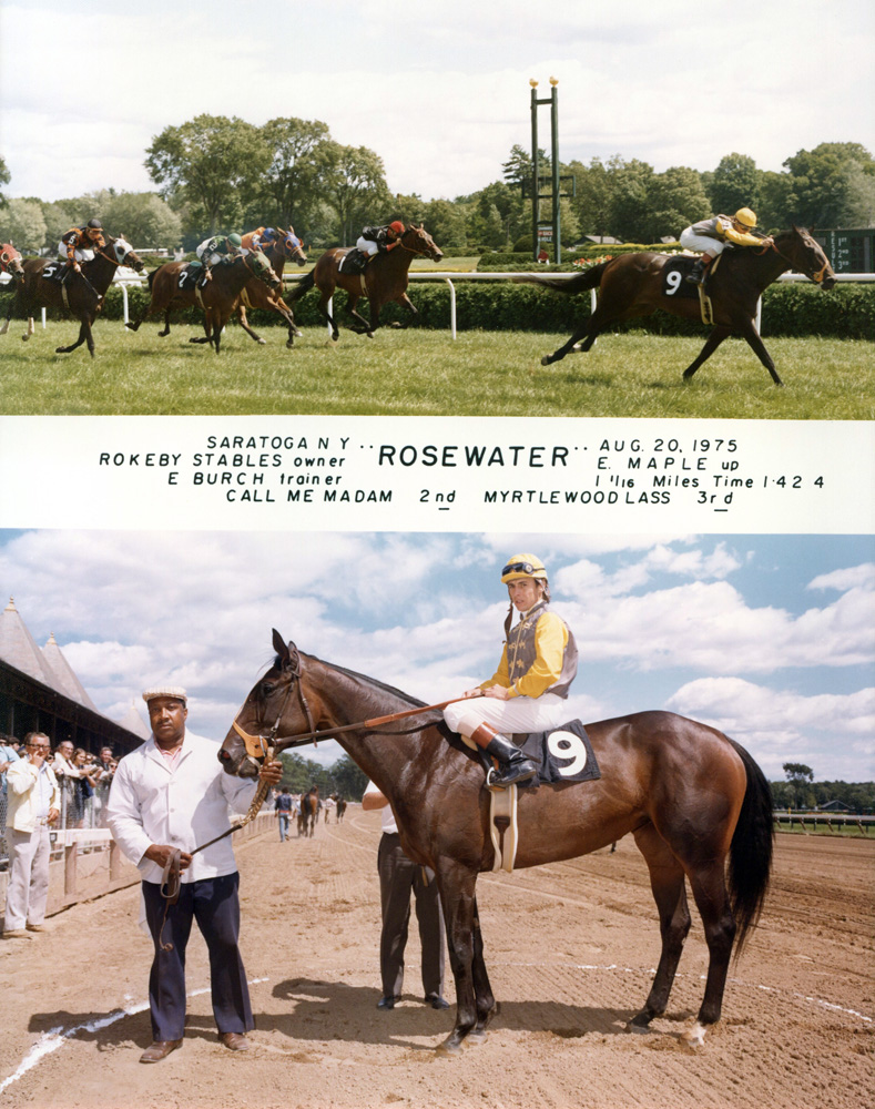 Win composite from a race on Aug. 20, 1975 at Saratoga won by Eddie Maple and Rosewater (NYRA/Museum Collection)