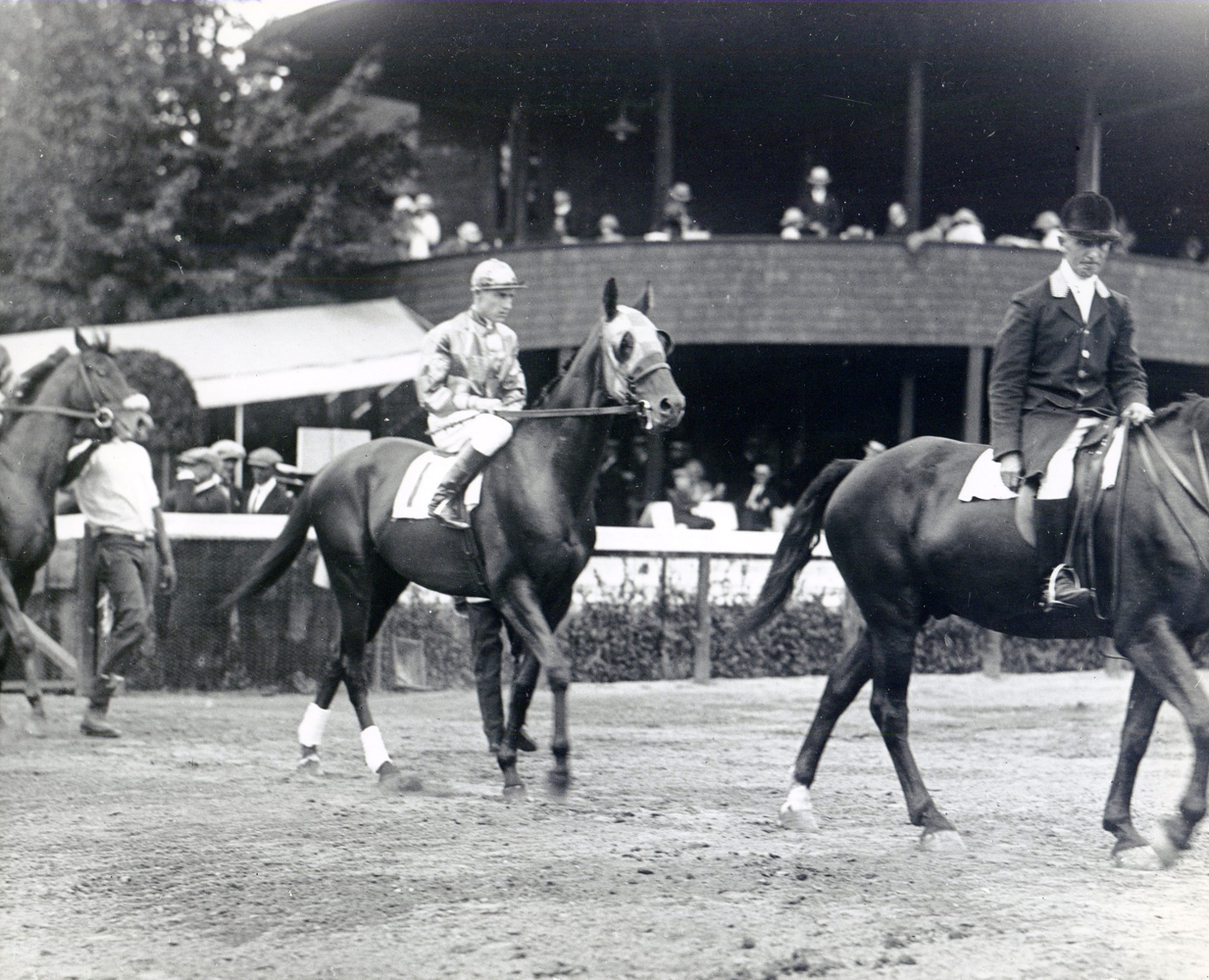 J. Linus McAtee and Bud Fisher entering the track for the 1st race at Saratoga on Aug. 11, 1922 (George S. Bolster/Museum Collection)