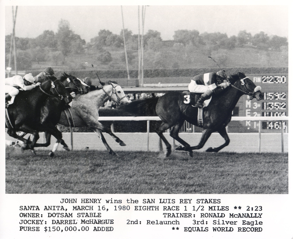 Darrel McHargue and John Henry winning the 1980 San Luis Rey Stakes at Santa Anita and equaling a world record (Bill Mochon/Museum Collection)
