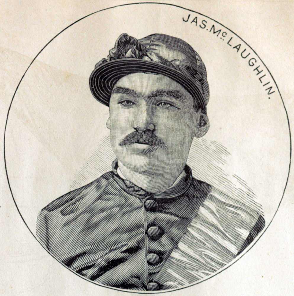 """Illustration of jockey James McLaughlin from the """"Spirit of the Times,"""" December 1884 (Keeneland Library Collection/Museum Collection)"""