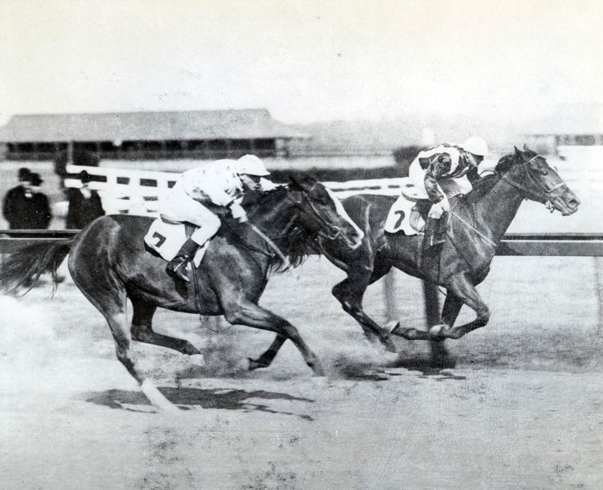 Walter Miller and Frizette winning a race at Aqueduct (Museum Collection)