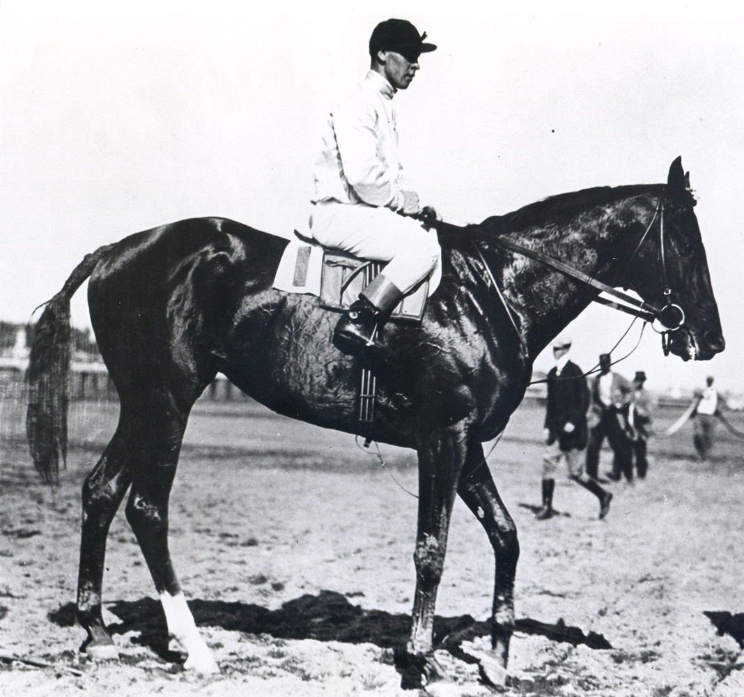 Joe Notter and Whisk Broom II at Belmont Park in 1913 (Museum Collection)