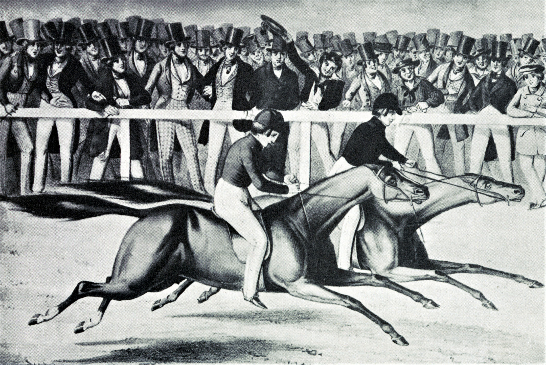 """An illustration from Hervey's """"Racing in America"""" depicting Gilbert W. Patrick (Gilpatrick) and Boston defeating Fashion at the Union Course match race on May 10, 1842 (Keeneland Library Collection/Museum Collection)"""