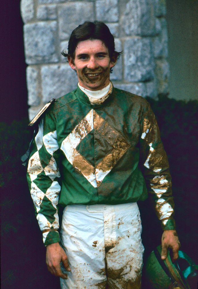 Craig Perret after winning the 1976 Spinster with Optimistic Gal at Keeneland (Keeneland Association)