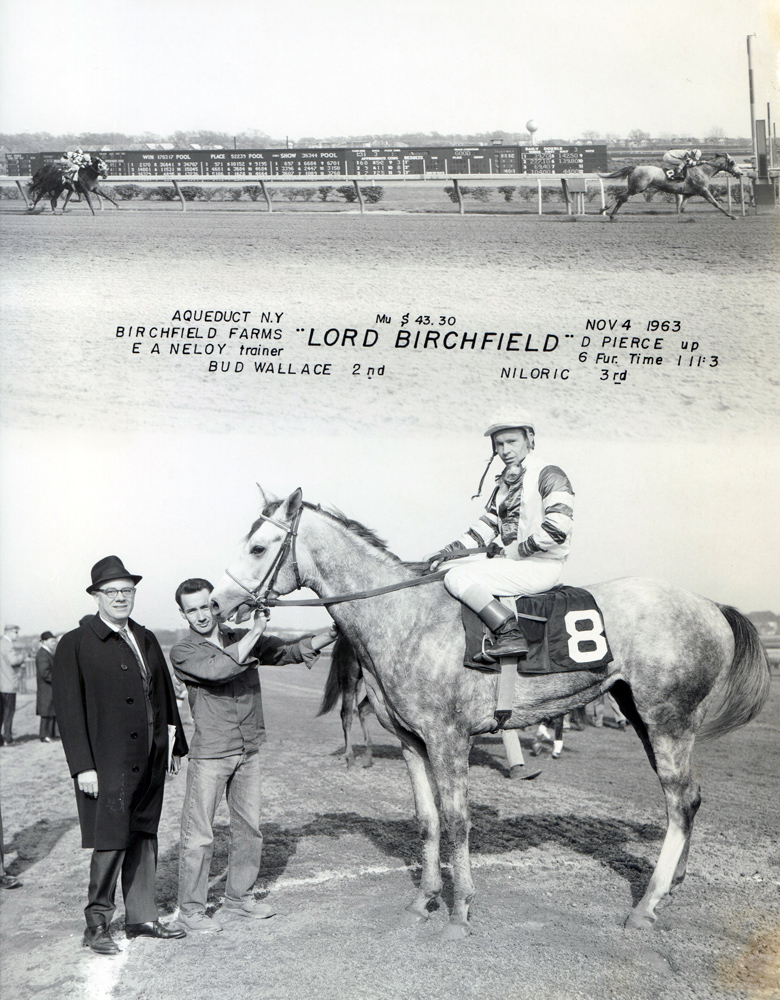 Don Pierce and Lord Birchfield in the winner's circle at Aqueduct, November 1963 (NYRA/Museum Collection)