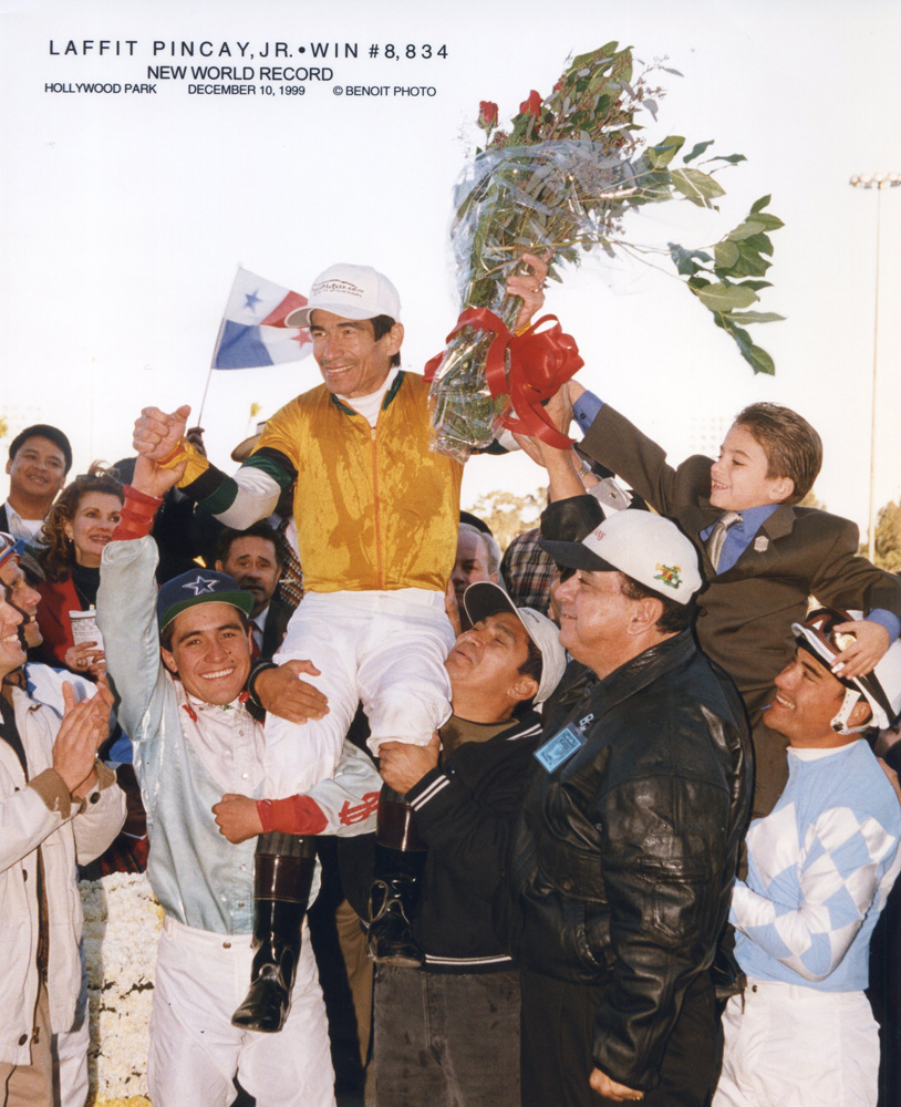 Laffit Pincay, Jr. breaks Bill Shoemaker's record and sets a new world record for most wins by a jockey at 8,834 on December 10, 1999 at Hollywood Park (Benoit Photo/Museum Collection)