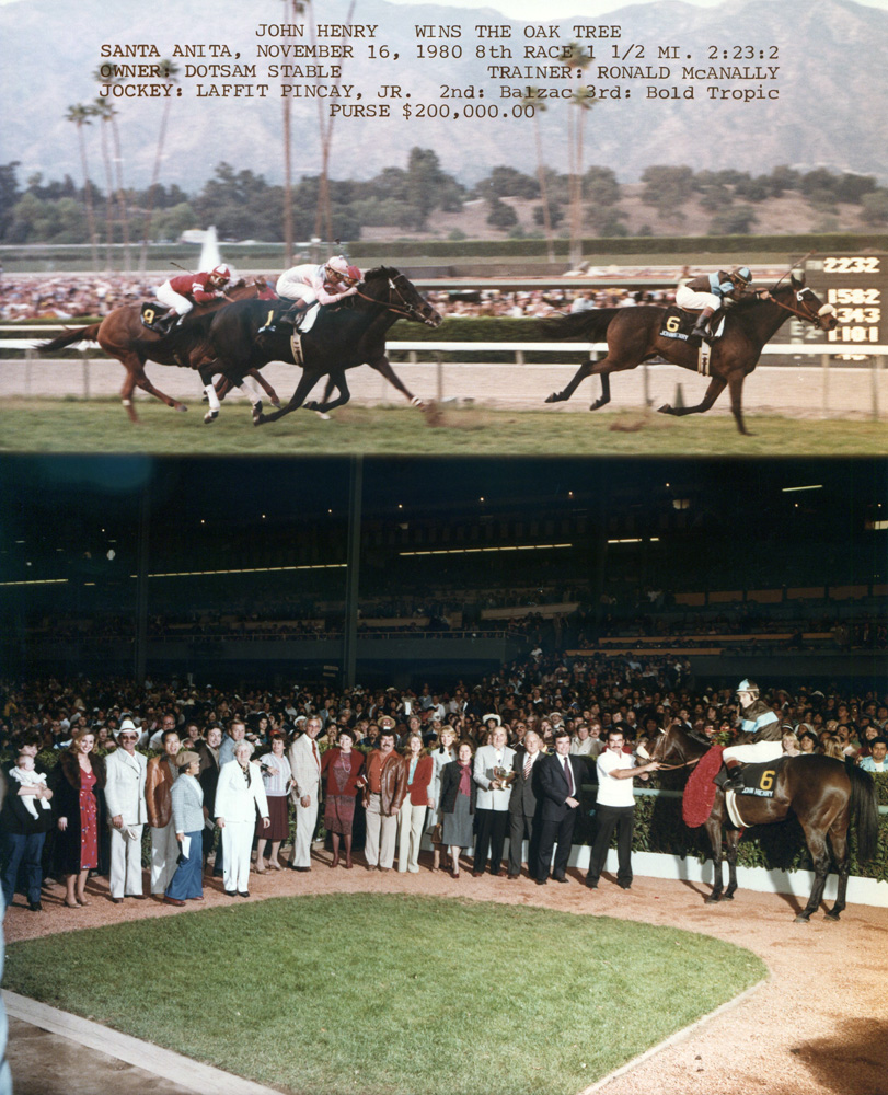 Win composite from the 1980 Oak Tree Invitational at Santa Anita, won by Laffit Pincay, Jr. and John Henry (Bill Mochon/Museum Collection)