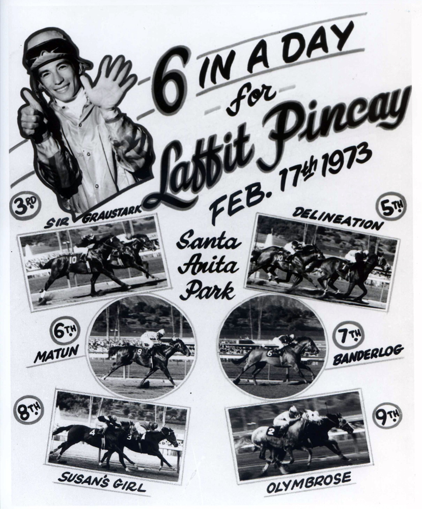 Photo collage celebrating Laffit Pincay's six wins in a day at Santa Anita Park, February 1973 (Bill Mochon/Museum Collection)