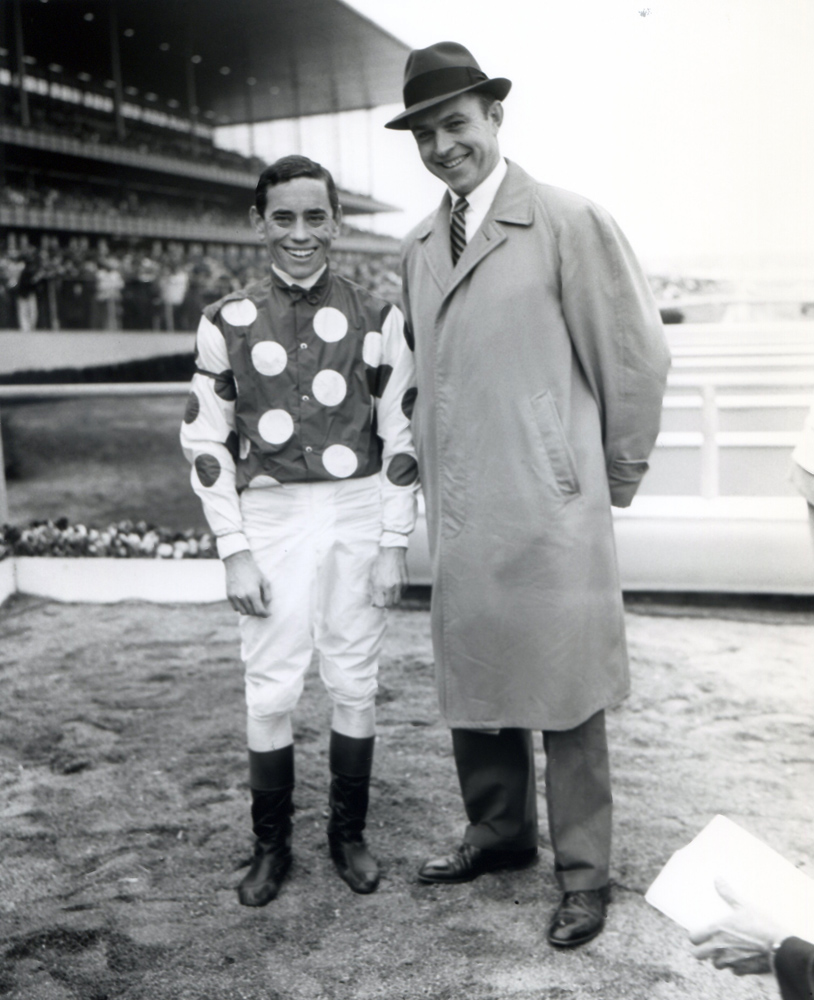 John Rotz and trainer T.J. Kelly after winning the 1961 Wood Memorial at Aqueduct with Globemaster (Keeneland Library Morgan Collection/Museum Collection)