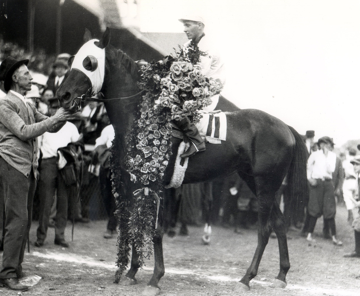 Earl Sande and Zev in the winner's circle for the 1923 Kentucky Derby (Churchill Downs Inc./Kinetic Corp. /Museum Collection)