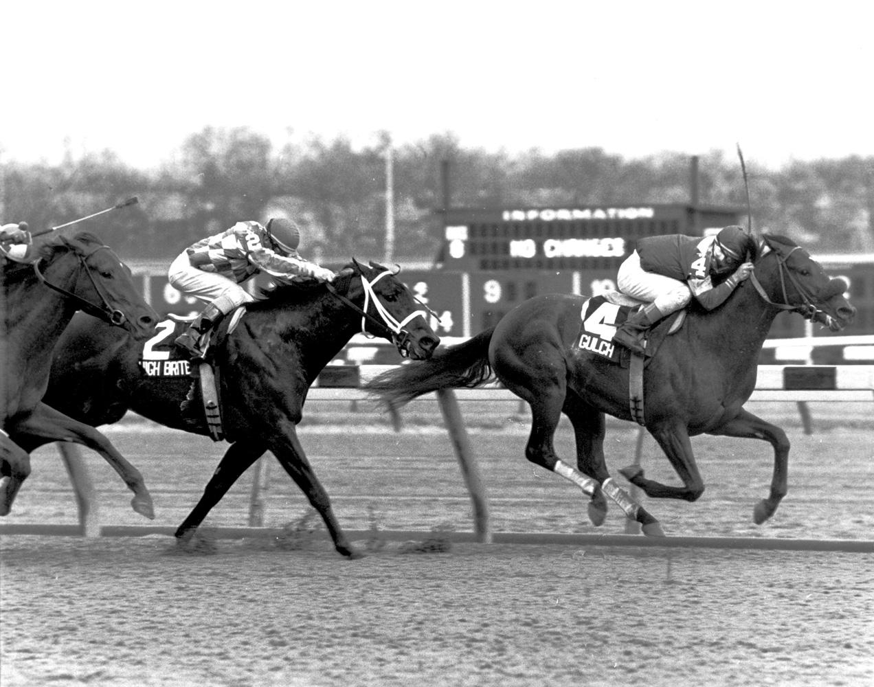 Jose Santos and Gulch winning the 1987 Bay Shore at Aqueduct (NYRA)