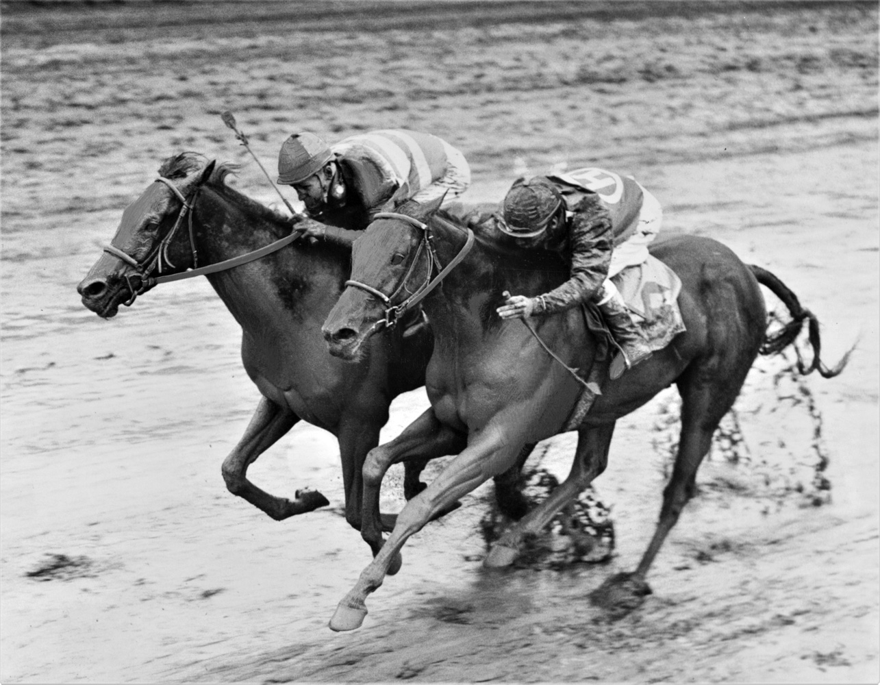John Sellers and Carry Back (on the outside) winning the 1961 Florida Derby at Gulfstream Park (Jim Raftery Turfotos)