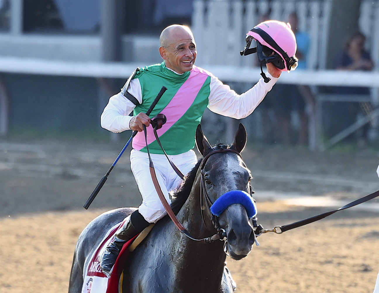Mike Smith and Arrogate after winning the 2016 Travers Stakes and setting a new stakes record (Bob Mayberger)