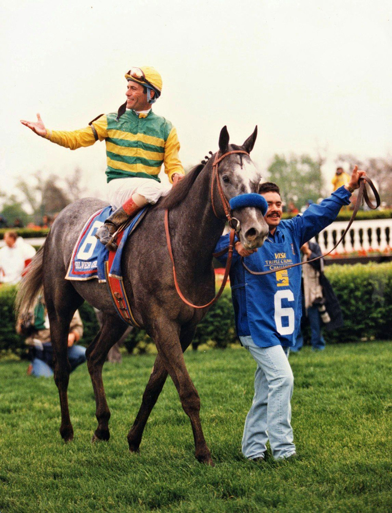 Gary Stevens and Silver Charm approaching the winner's circle after winning the 1997 Kentucky Derby (Barbara D. Livingston)