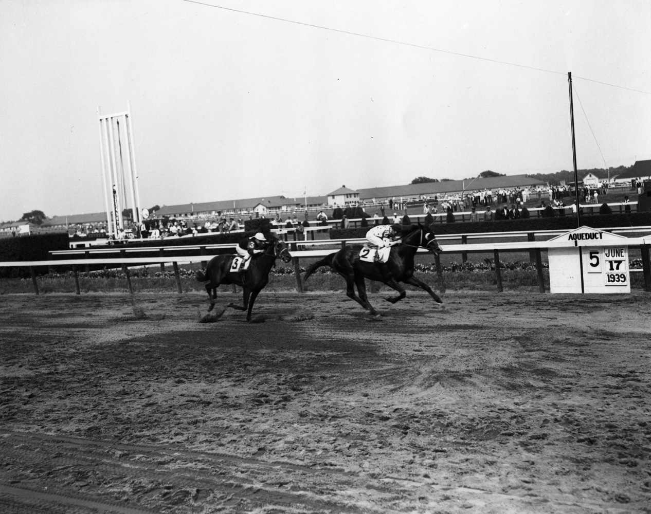 James Stout and Johnstown winning the 1939 Dwyer Stakes at Aqueduct (Keeneland Library Morgan Collection/Museum Collection)