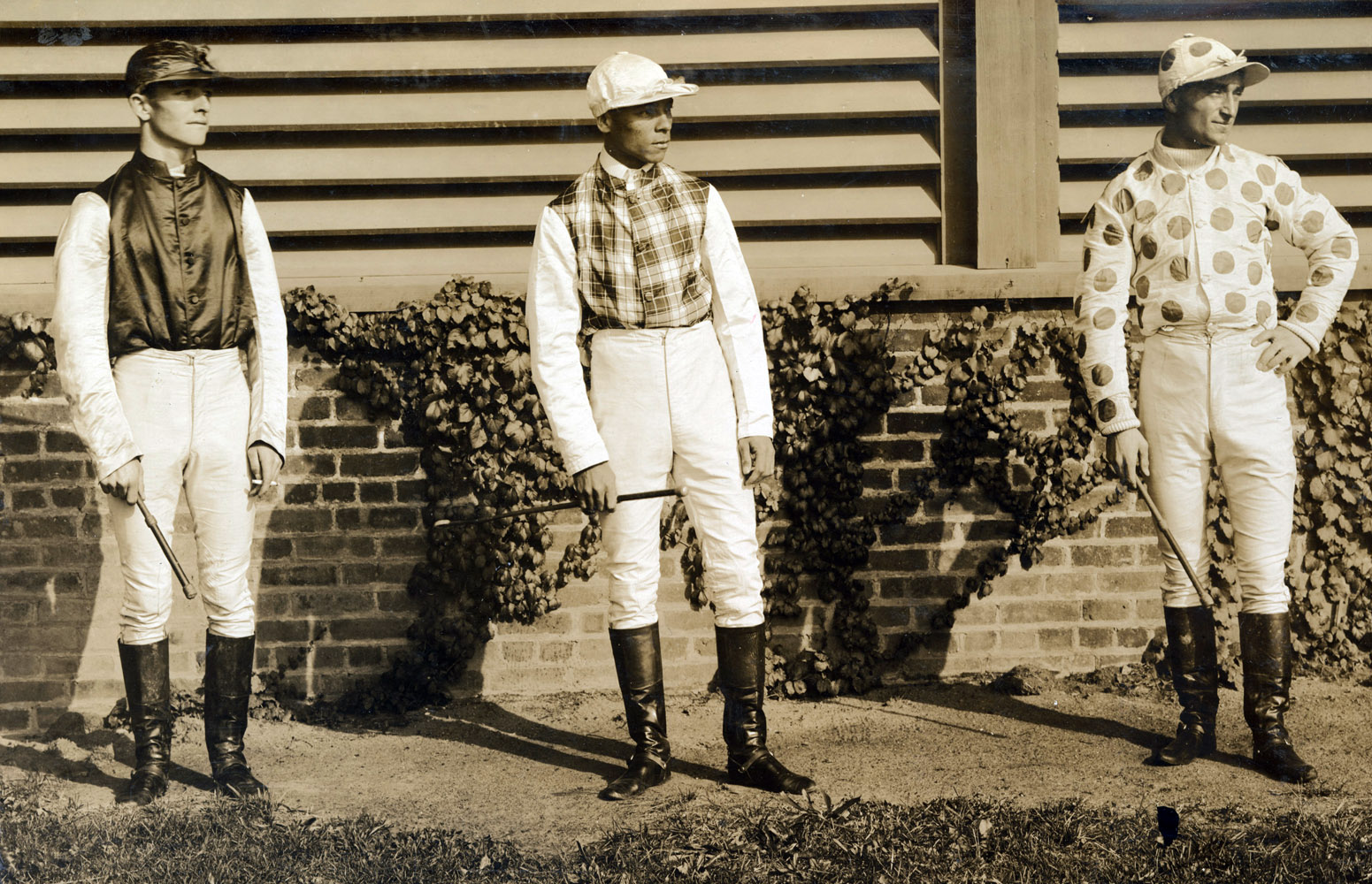 Jockeys Sam Doggett, Willie Simms, and Fred Taral in 1894 (Keeneland Library Hemment Collection)