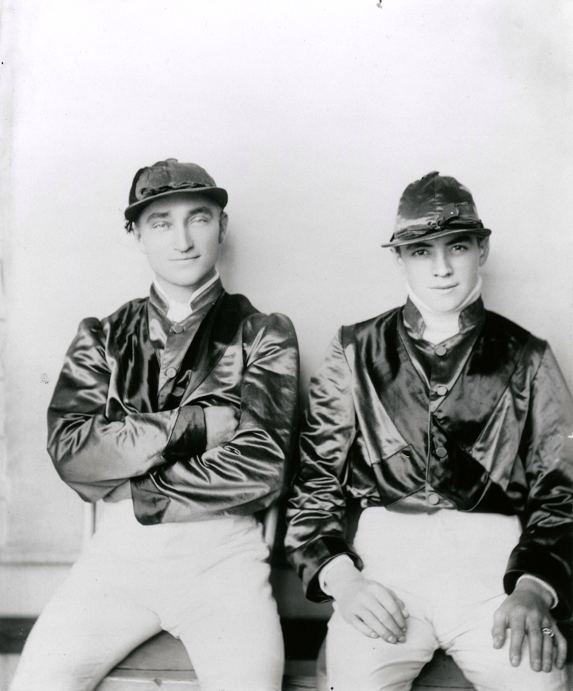 Fred Taral (on left) with a fellow jockey (Keeneland Library Cook Collection/Museum Collection)