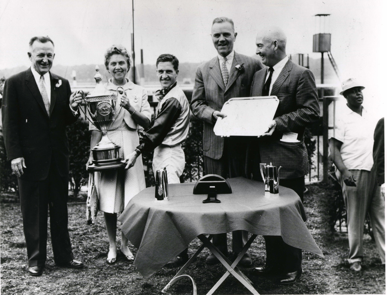 Jockey Bobby Ussery at a trophy presentation after winning a race (Mike Sirico/Museum Collection)