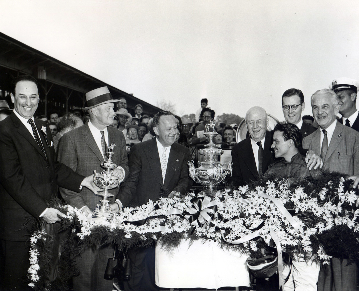 The winning connections of Tim Tam celebrating together during the trophy presentation for the 1958 Preakness Stakes (Pimlico Photo/Museum Collection)