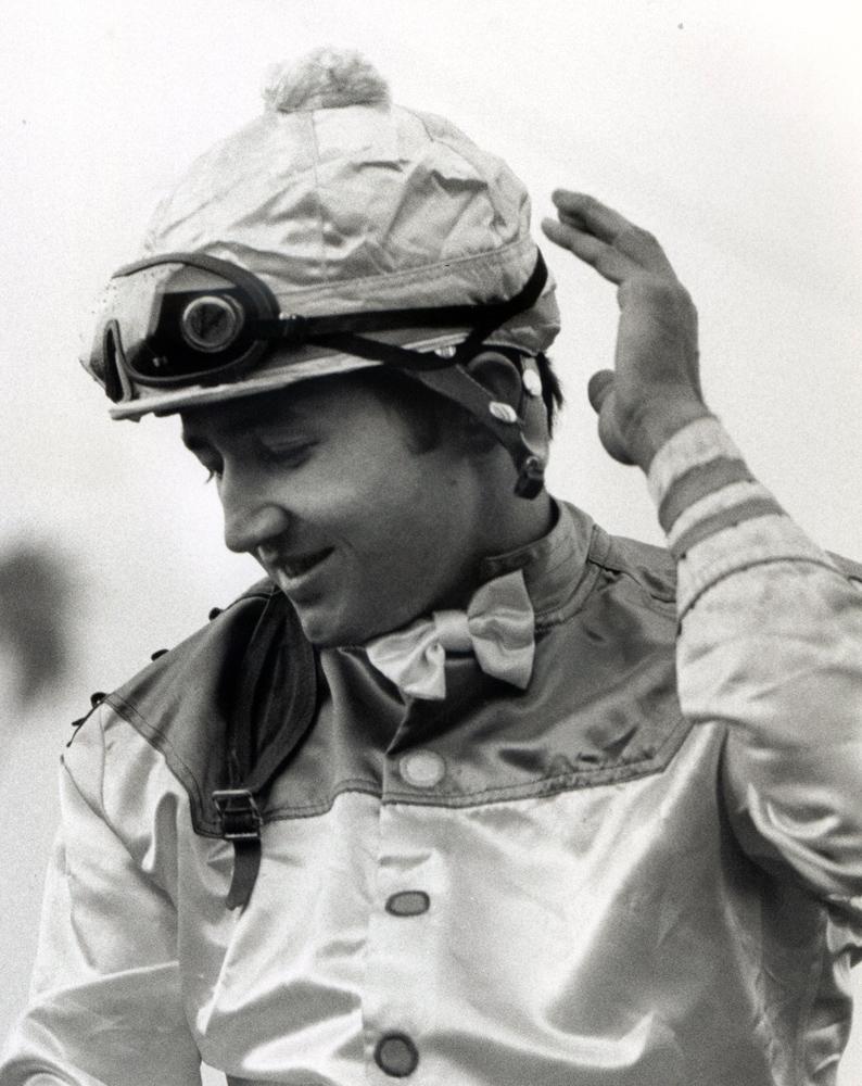 Jacinto Vasquez after winning the 1973 San Gabriel Handicap at Santa Anita with Astray (Bill Mochon/Museum Collection)