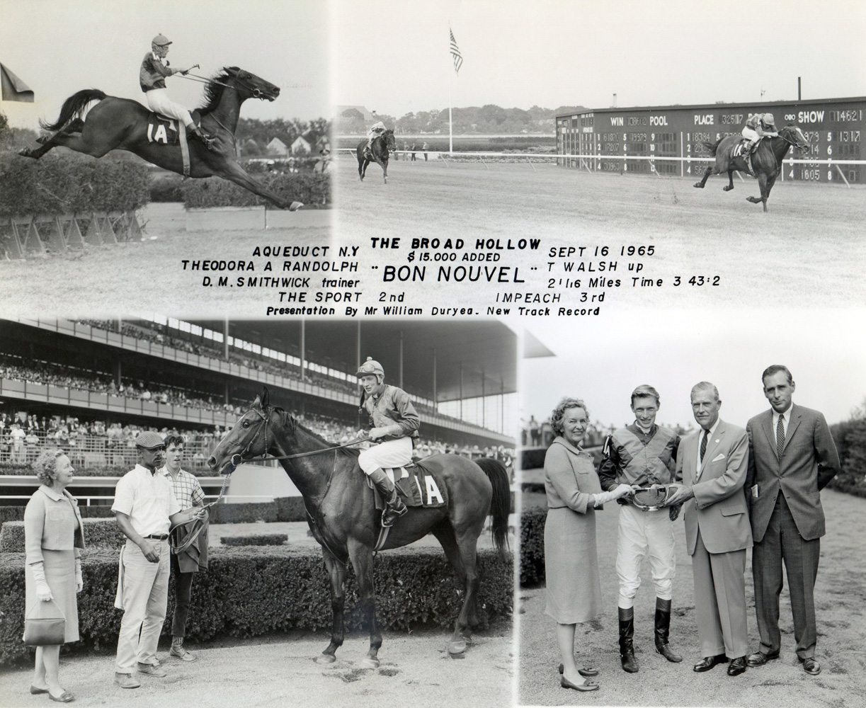 Win composite from the 1965 Broad Hollow at Aqueduct, won by Tommy Walsh and Bon Nouvel (NYRA/Museum Collection)