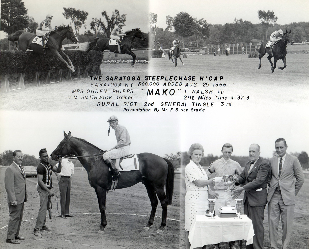 Win composite from the 1966 Saratoga Steeplechase Handicap at Aqueduct, won by Tommy Walsh and Mako (NYRA/Museum Collection)
