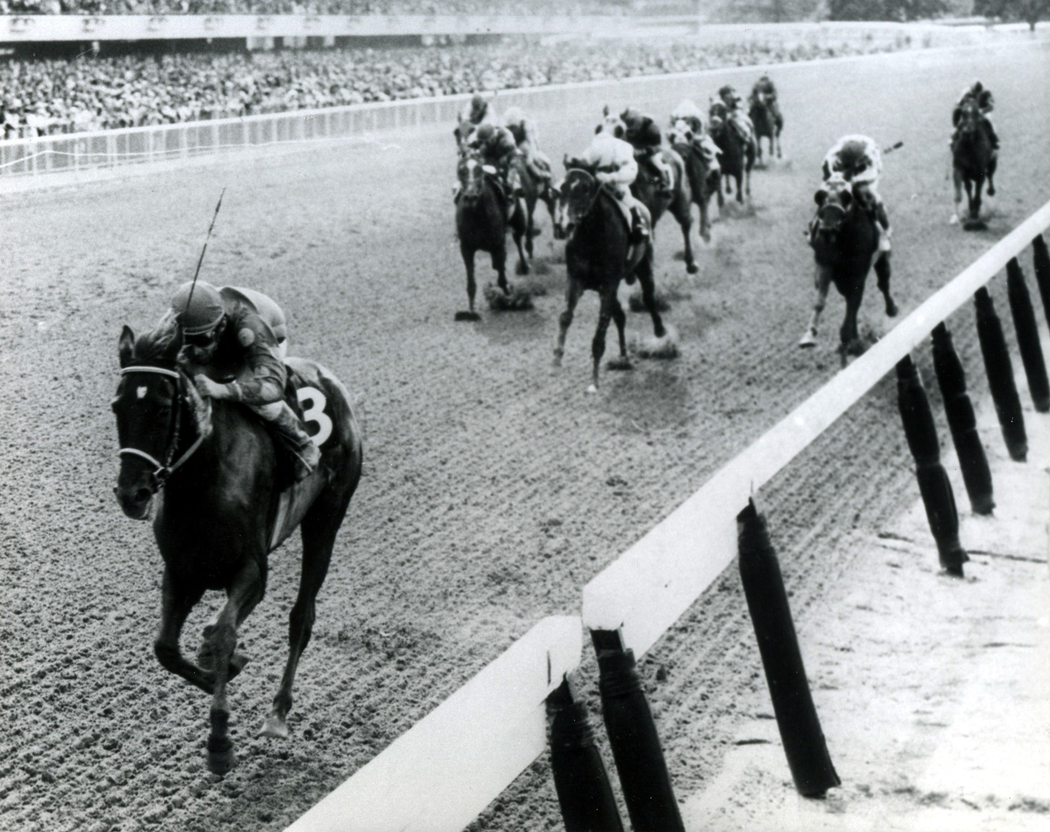 Manny Ycaza and Dark Mirage win the 1968 Acorn Stakes at Belmont (Bob Coglianese/NYRA /Museum Collection)