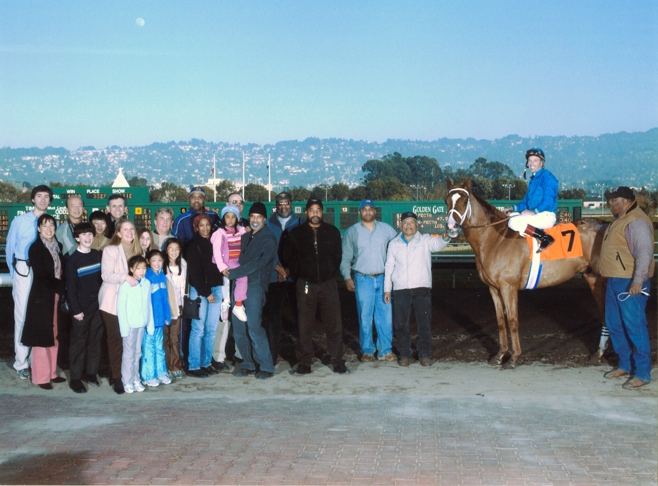 Russell Baze and Hollow Memories in the winner's circle at Golden Gate Fields. Baze would become the sport's winningest jockey in 2006 (Golden Gate Fields Photo/Museum Collection)