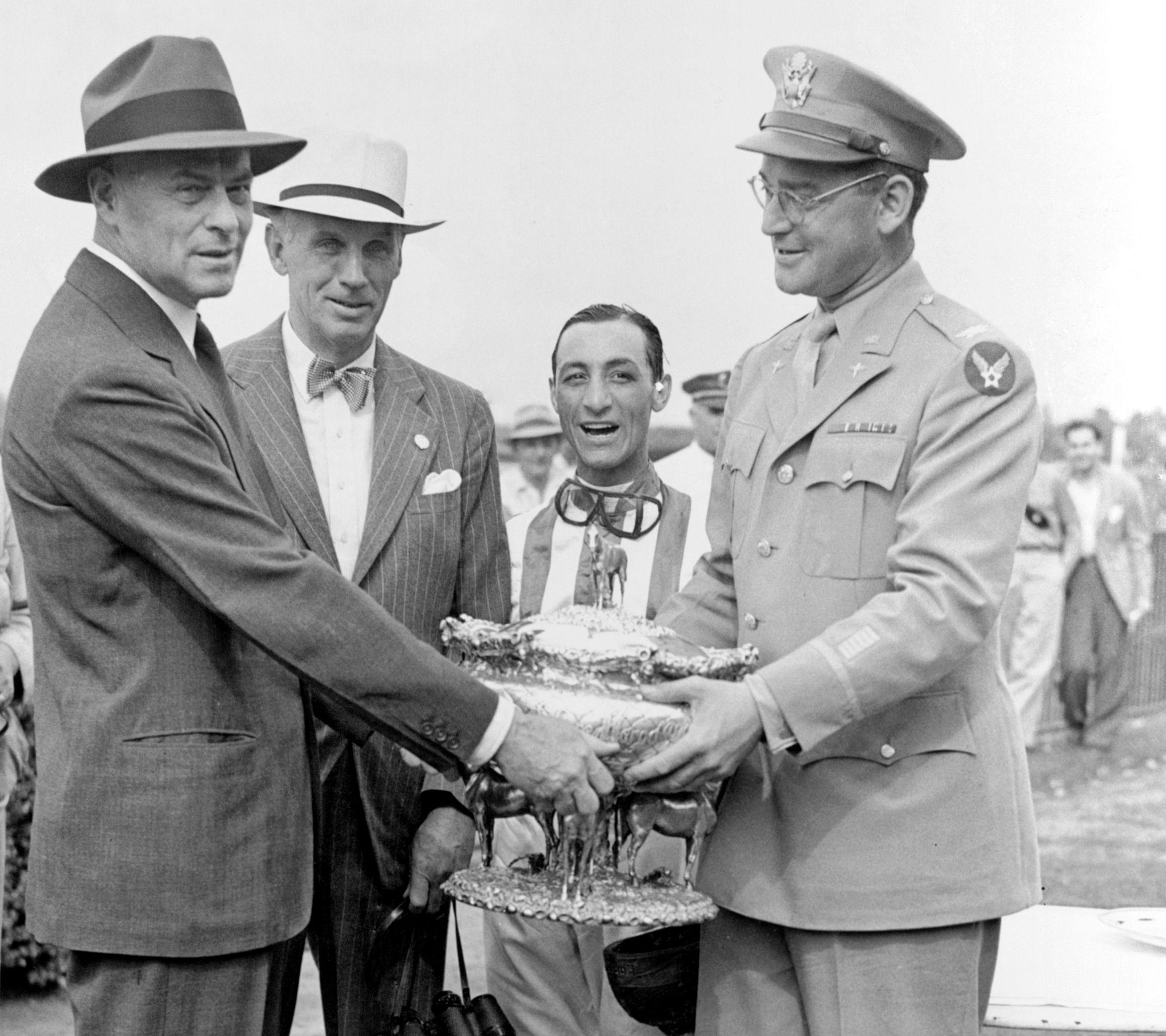 Keeneland Library Morgan Collection - Walter Jeffords, George D Widener Jr, E. Arcaro & John Hay Whitney at 1942 Belmont.jpg