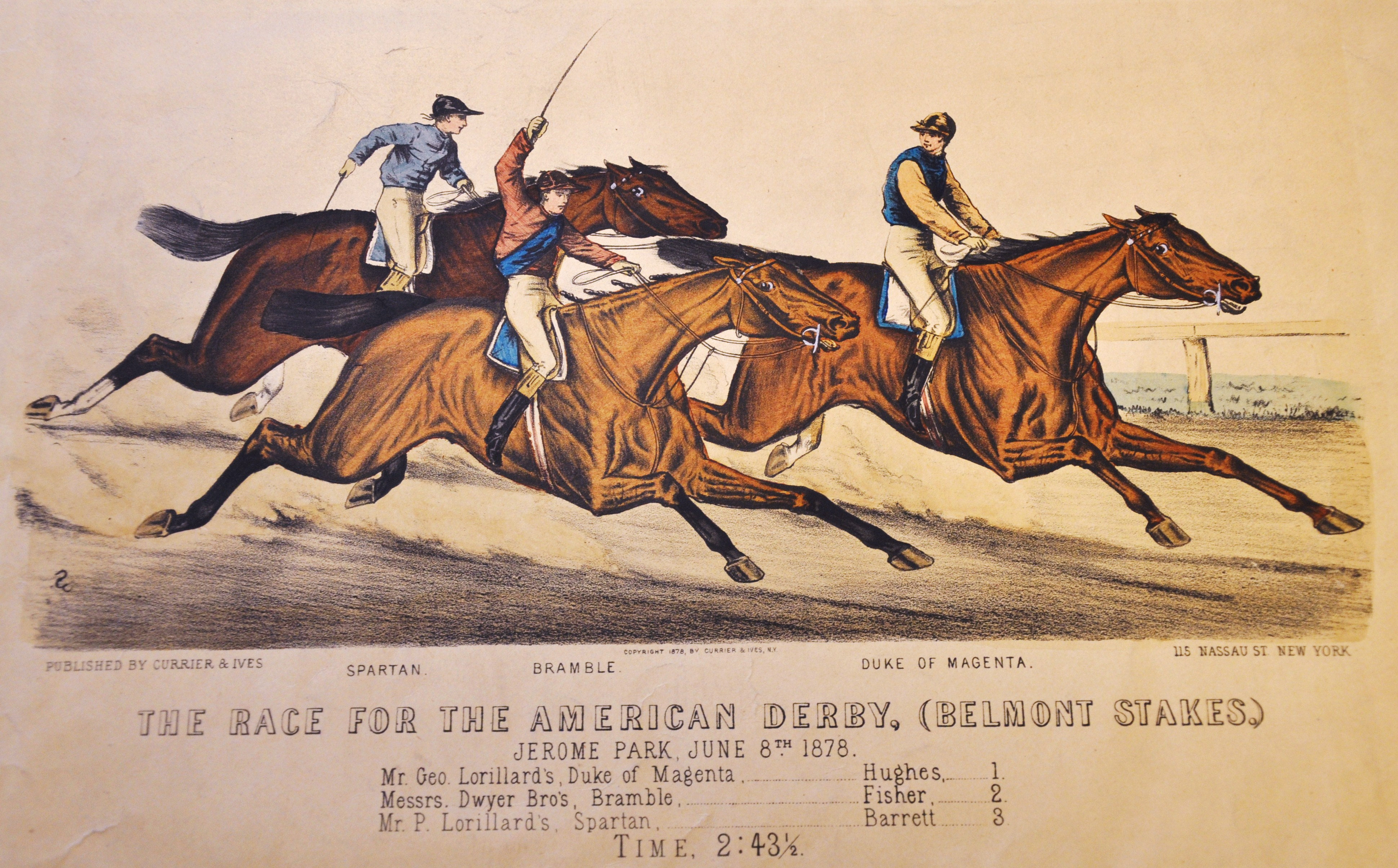 Currier & Ives print of Lloyd Hughes aboard Duke of Magenta in the 1878 Belmont Stakes (Museum Collection)