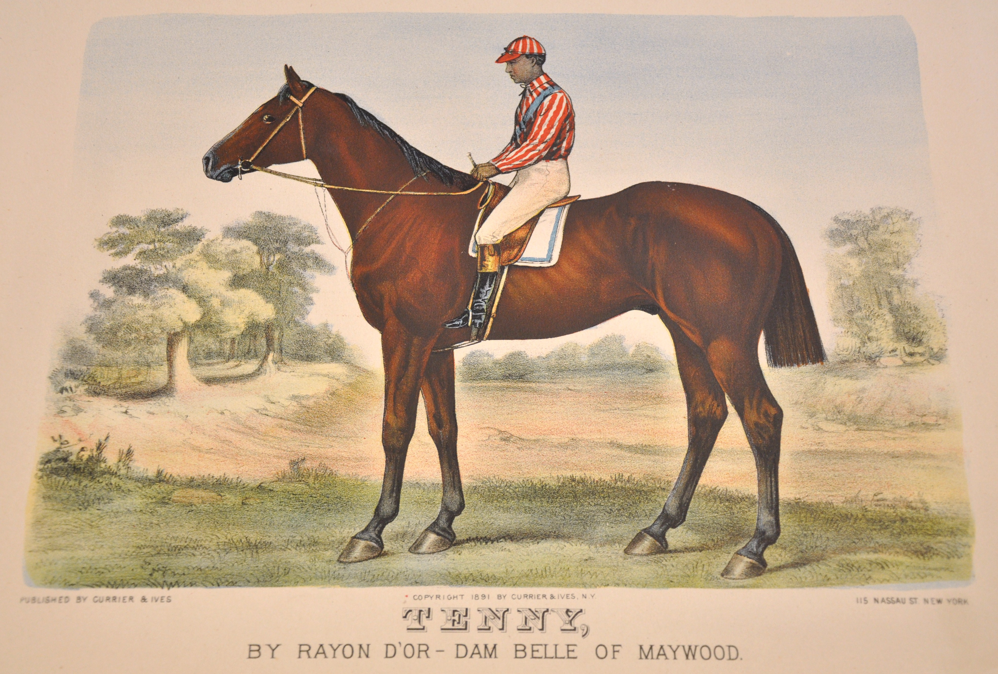 Currier & Ives print of Tenny with jockey (believed to be Shelby Barnes) (Museum Collection)