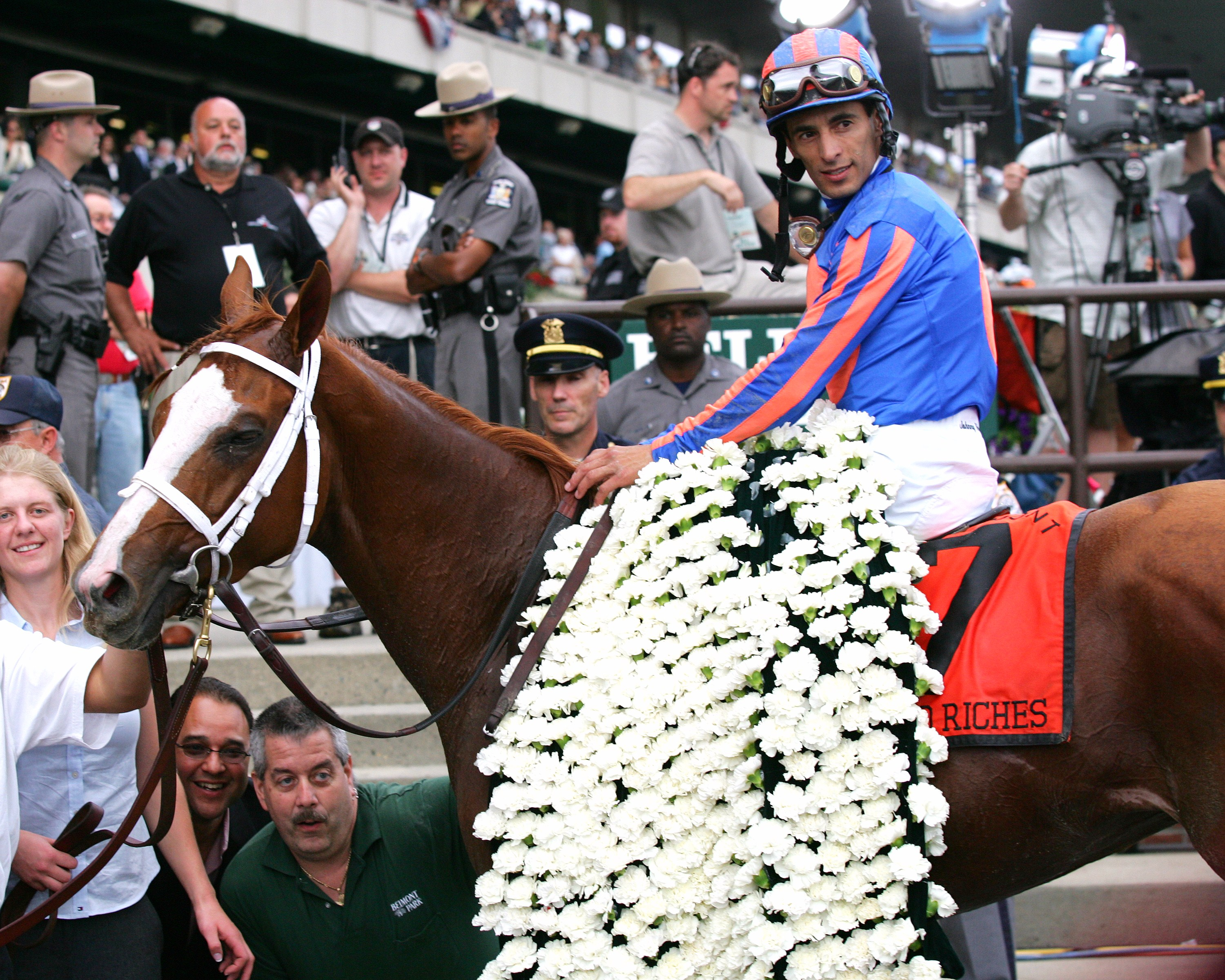 John Velazquez aboard Rags to Riches in the winner's circle at Belmont Park after winning the 2007 Belmont Stakes (NYRA)