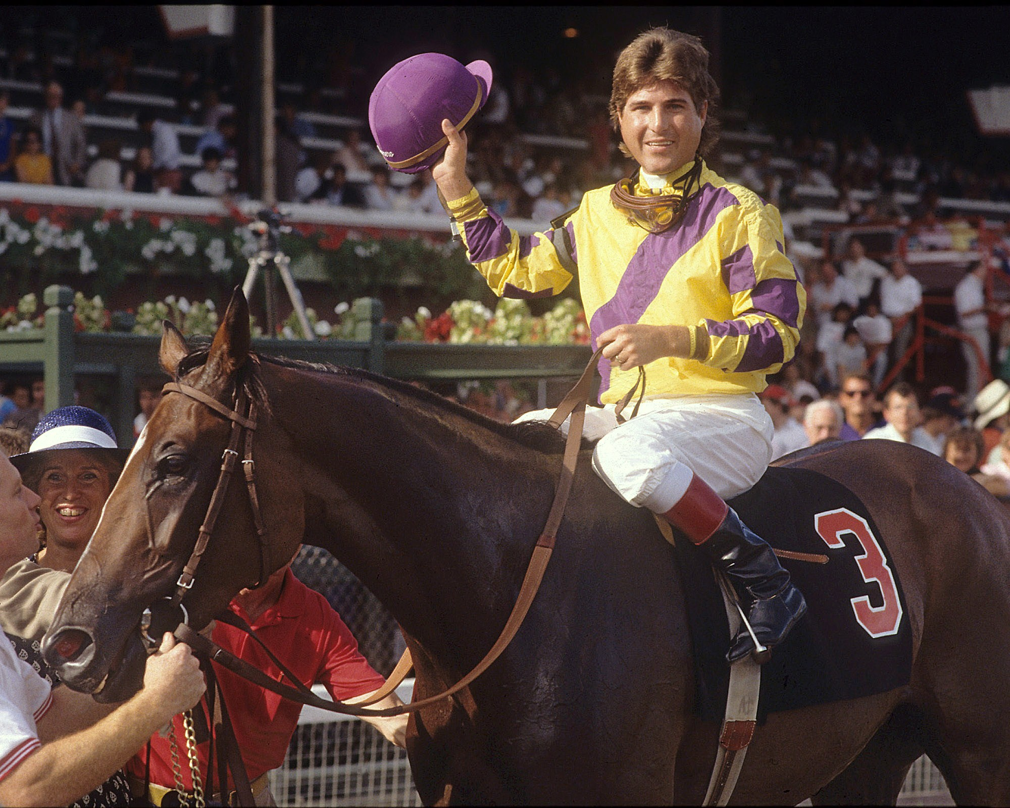 Randy P. Romero celebrates aboard Go for Wand after winning the 1990 Alabama Stakes at Saratoga Race Course (Tom Killips)