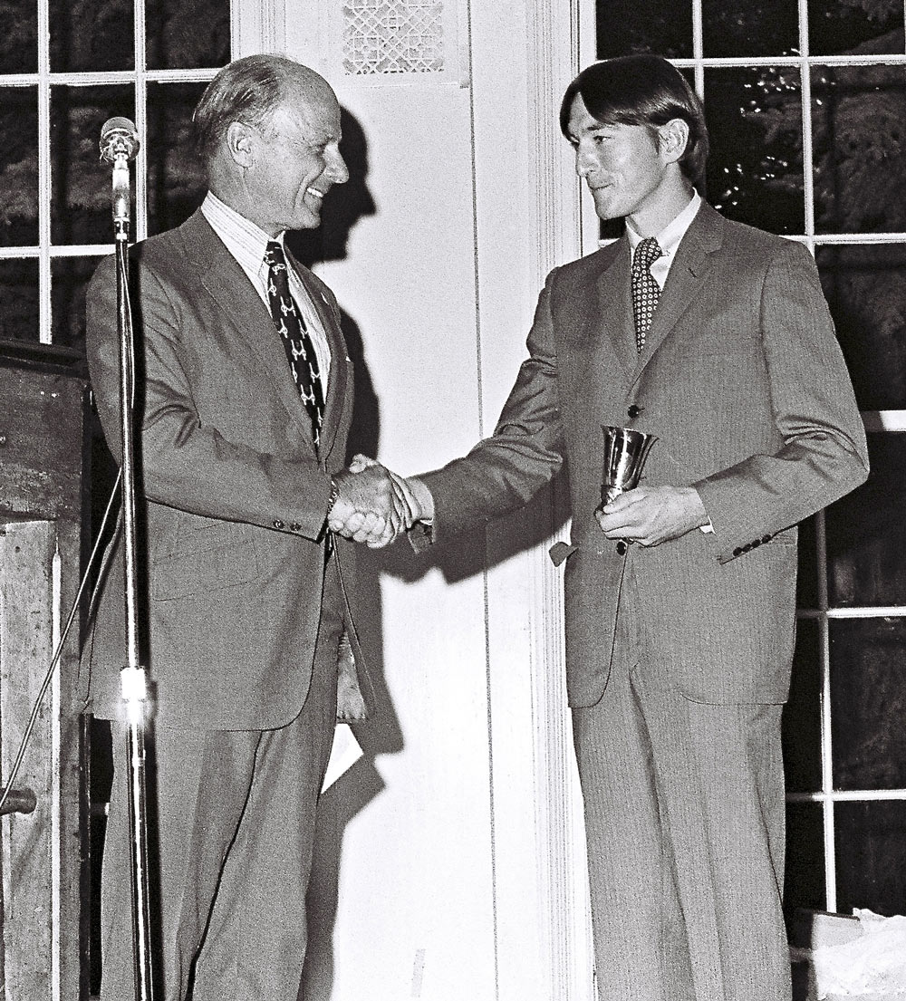 Jerry Fishback accepting the F. Ambrose Clark Award from Randy Rouse, 1972 (Douglas Lees)
