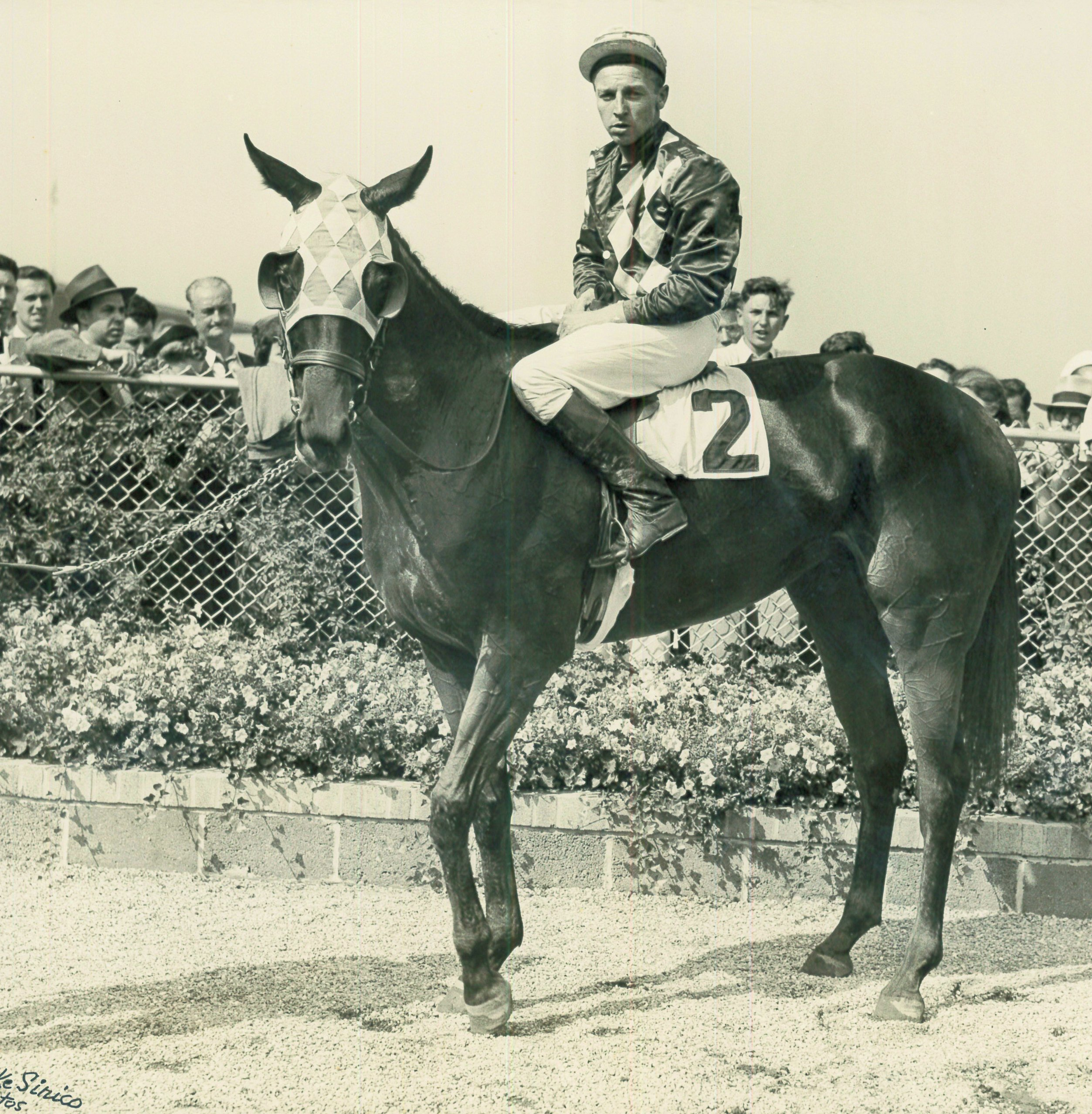 Wayne Wright aboard Good Thing at Aqueduct in 1943 (Mike Sirico/Museum Collection)