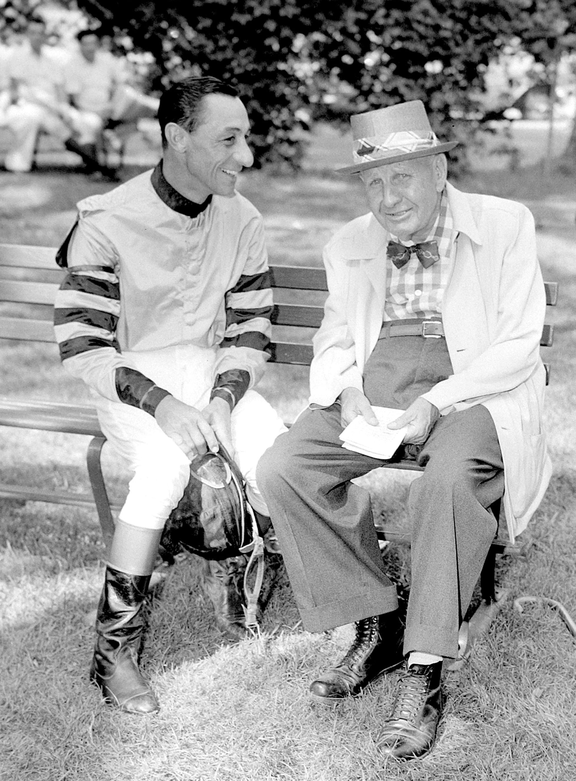 "Eddie Arcaro, left, with James ""Sunny Jim"" Fitzsimmons (Keeneland Library Morgan Collection)"