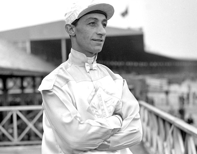 Eddie Arcaro at Jamaica Racetrack, April 1948 (Keeneland Library Morgan Collection)