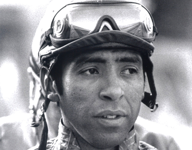 Angel Cordero, Jr. at Santa Anita Park, March 1979 (Bill Mochon/Museum Collection)