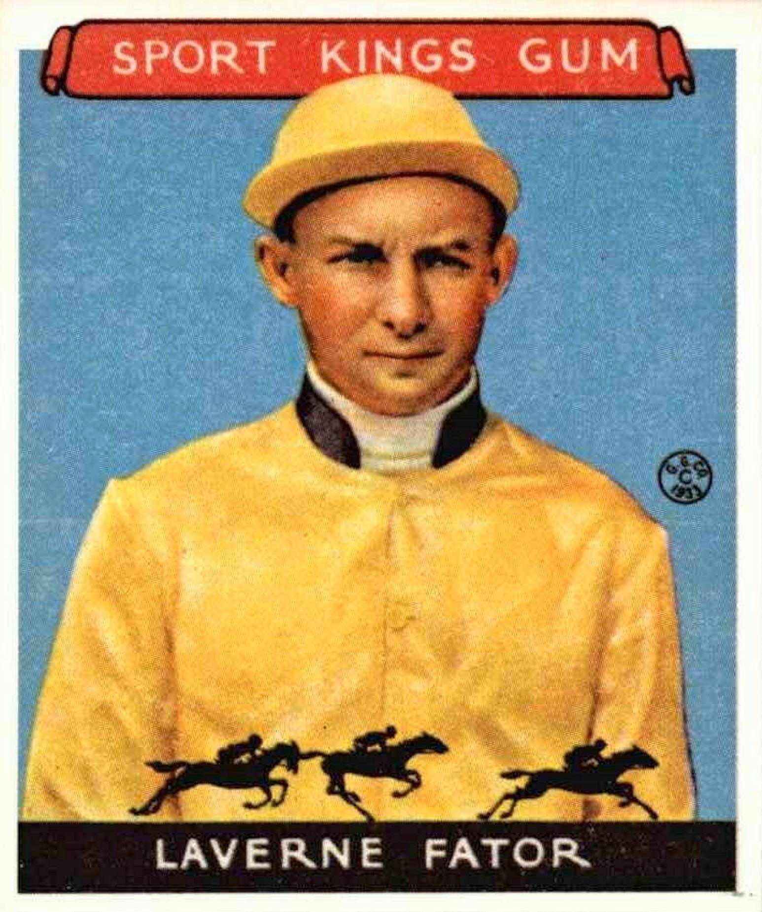 Laverne Fator, 1933 Sport Kings jockey card
