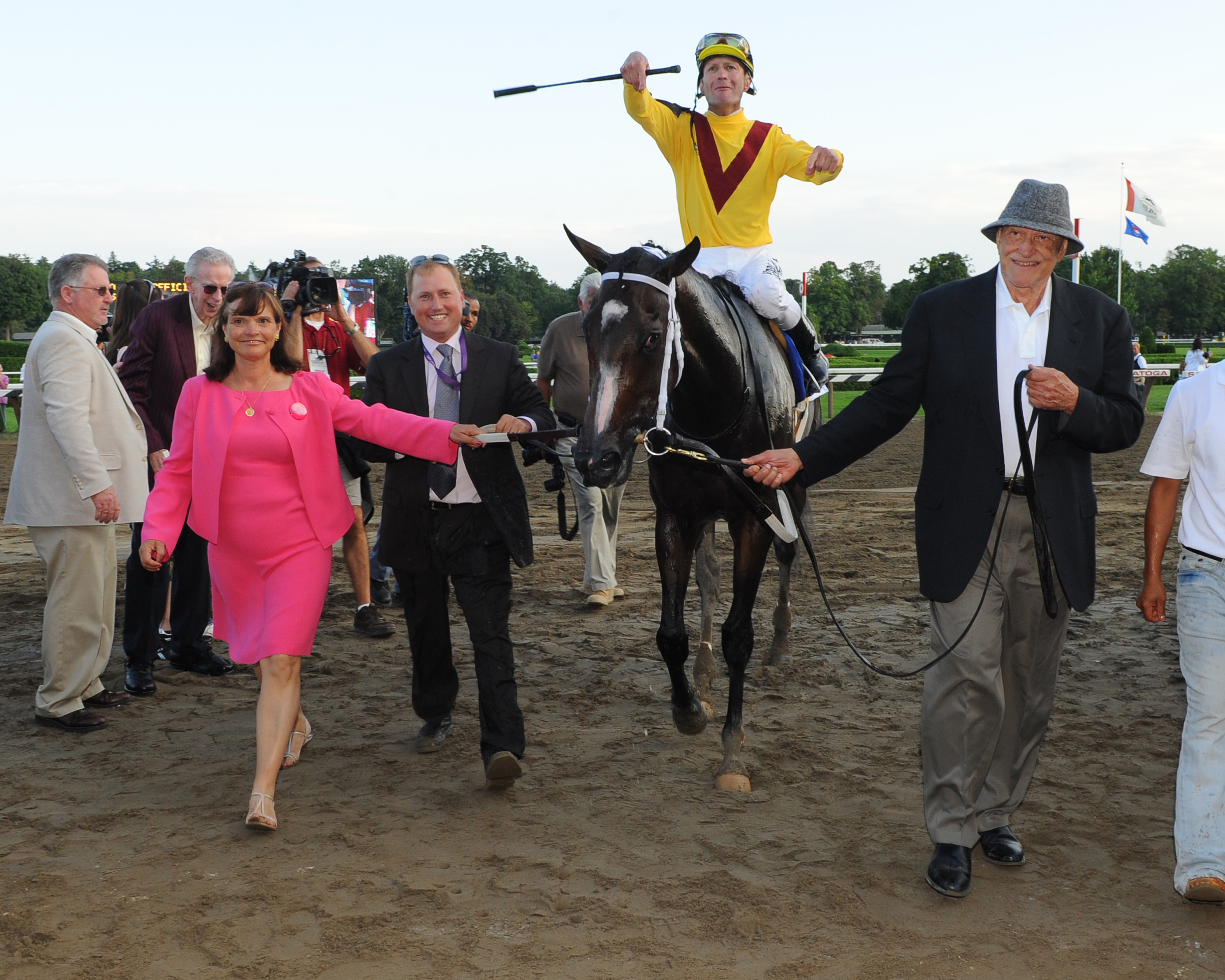 Rachel Alexandra, Calvin Borel up, is led to the winner's circle after winning the 2009 Woodward at Saratoga Race Course (NYRA)