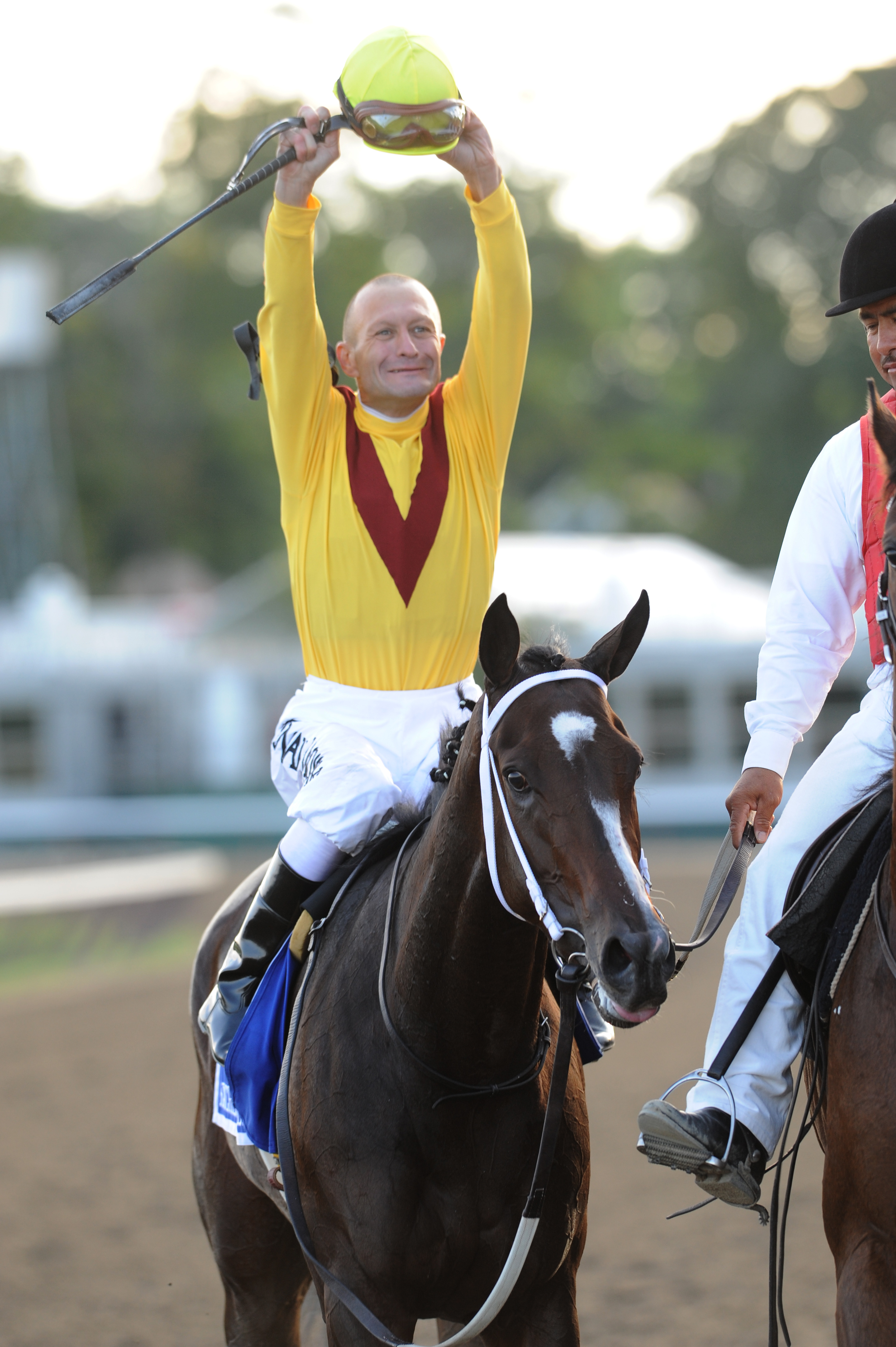 Calvin Borel celebrates aboard Rachel Alexandra after winning the 2009 Woodward at Saratoga Race Course (NYRA)