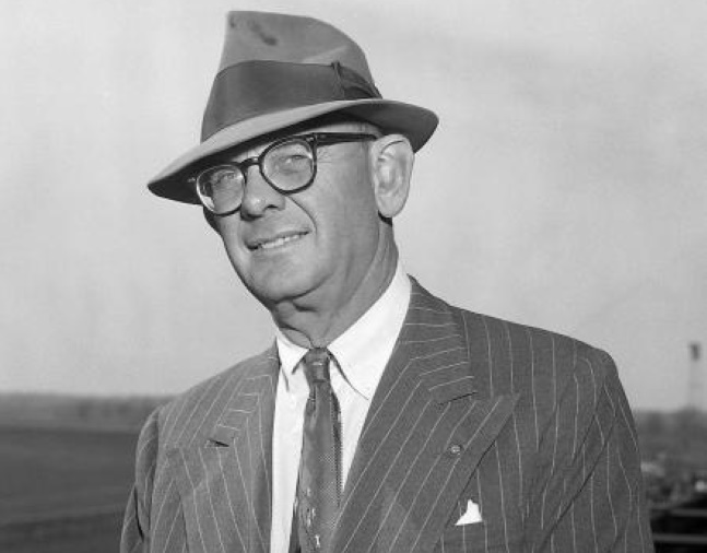 "Arthur B. ""Bull"" Hancock, Jr. at Keeneland, April 1960 (Keeneland Library Morgan Collection)"