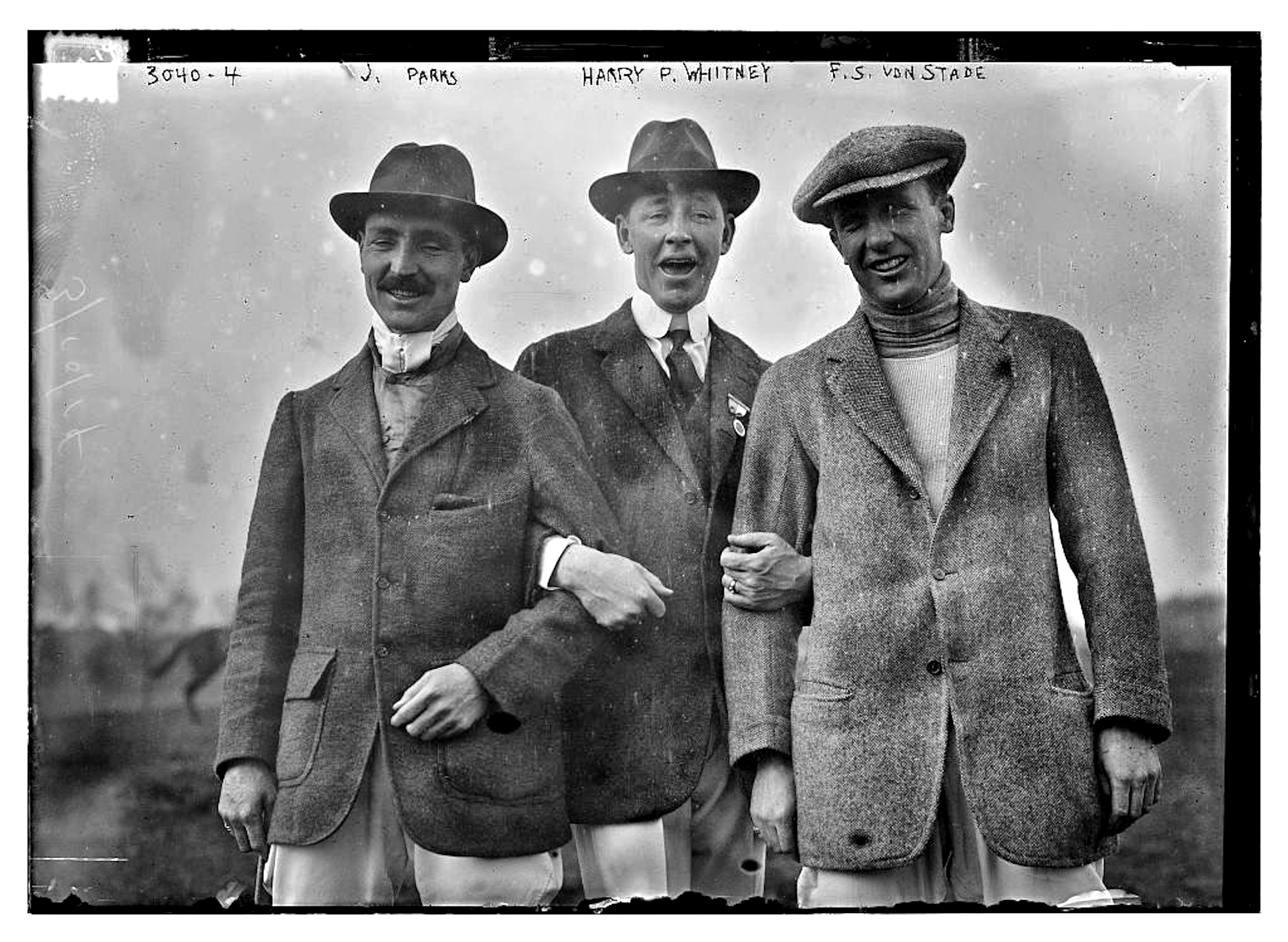 """J. Parks, Harry Payne Whintey, and F. """"Skiddy"""" von Stade, c. 1910 (Library of Congress, Prints & Photographs Division, [LC-DIG-ggbain-15888])"""