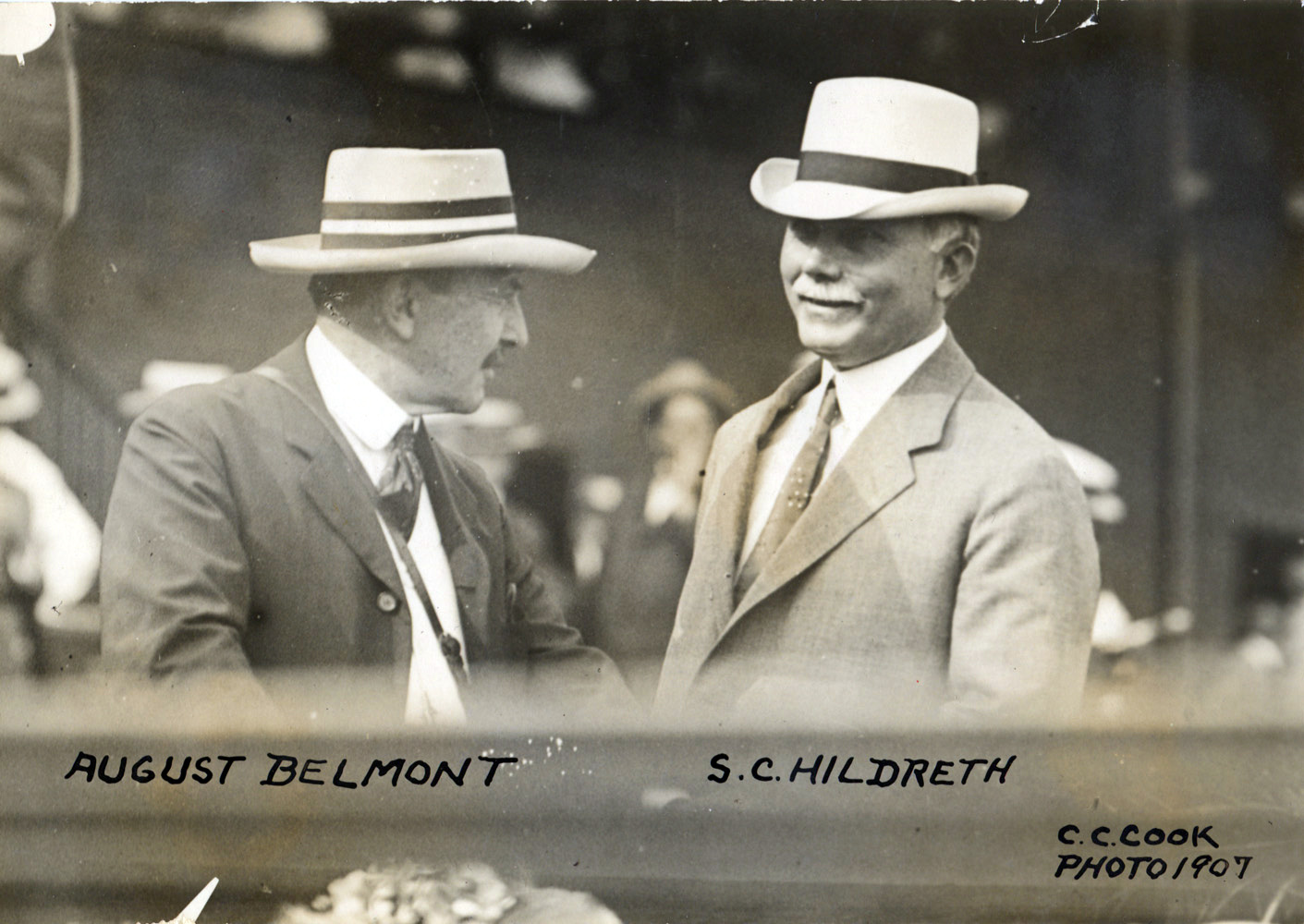 August Belmont and trainer Sam Hildreth in 1907 (C. C. Cook/Museum Collection)