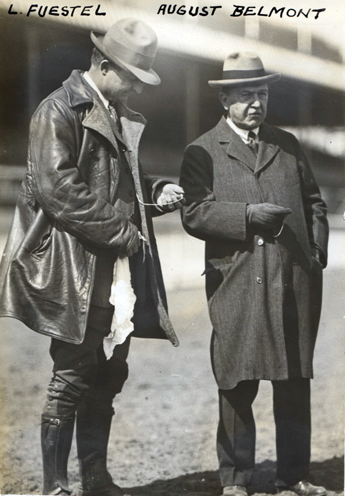 Trainer Lou Feustel and August Belmont II in 1915 (C. C. Cook/Museum Collection)