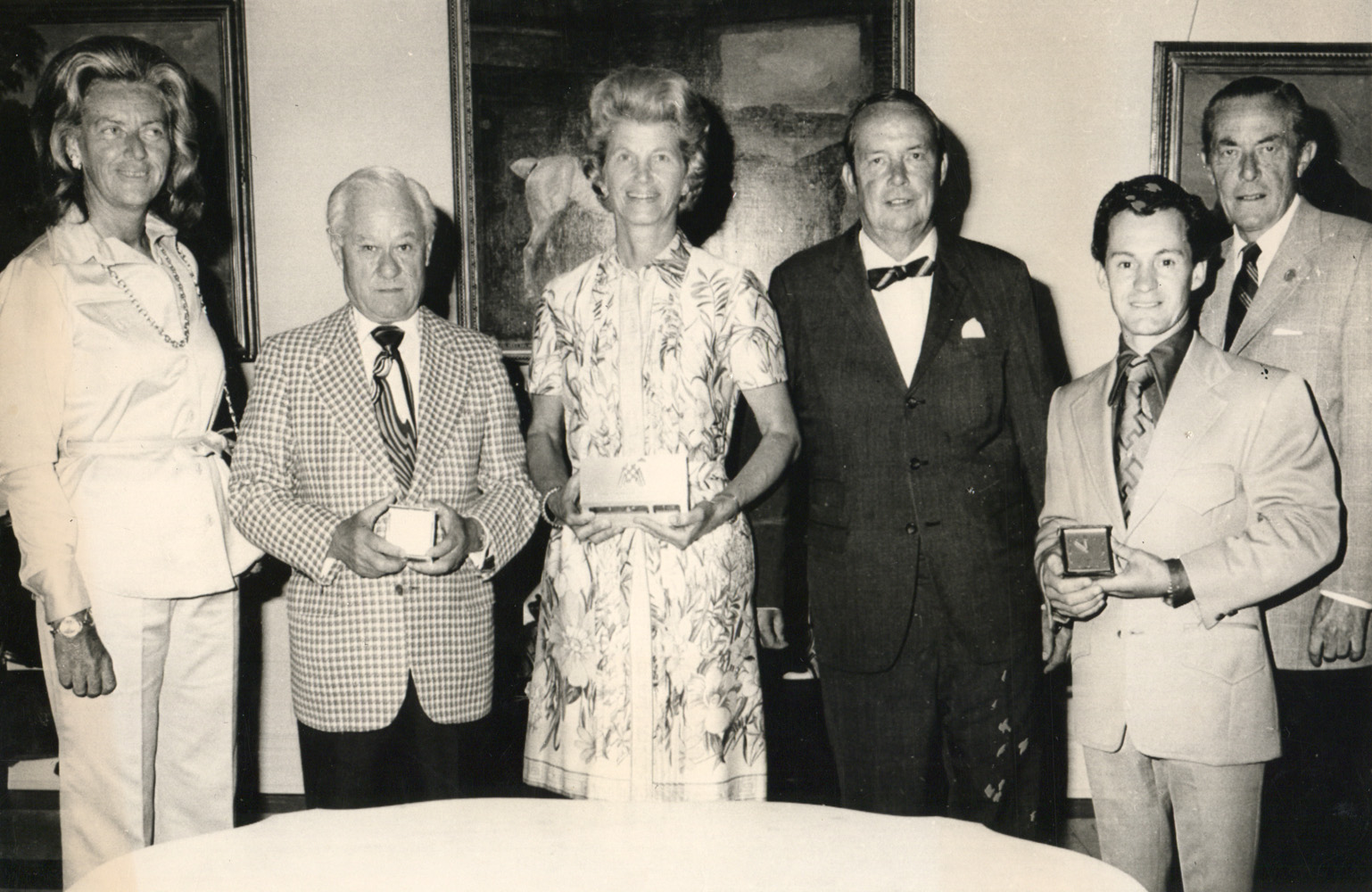 The winning connections of Secretariat Mr. and Mrs. Walter Jeffords of the Belmont Ball Committee and Charles E. Mather II, Museum President, at the National Museum of Racing in August 1974 (Bob Coglianese/Museum Collection)