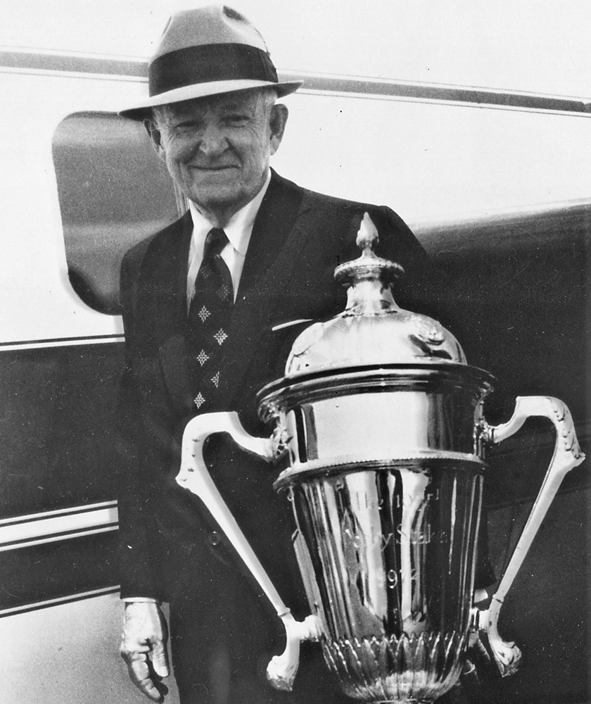 John Galbreath and the 1972 Epsom Derby trophy, won by Roberto (Courtesy of Ken Grayson)
