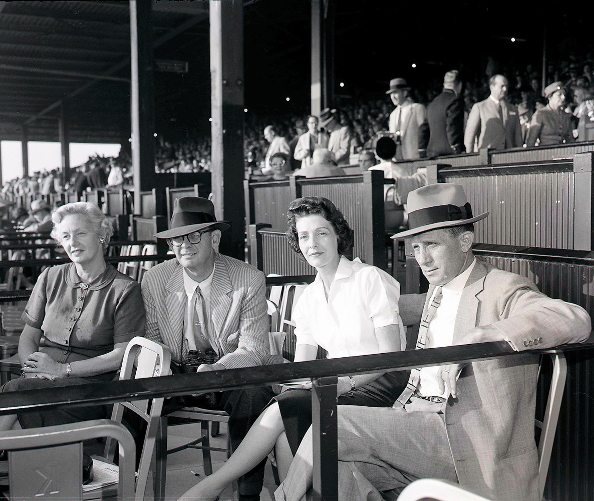Mrs. A. B. Hancock, Mr A.B. Hancock, Mrs. Moody Jolley and Mr. Moody Jolley at Keeneland, October  1956 (Keeneland Library Meadors Collection)