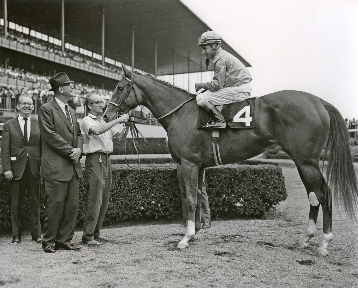Bull Hancock in the winner's circle with Moccasin (Museum Collection)